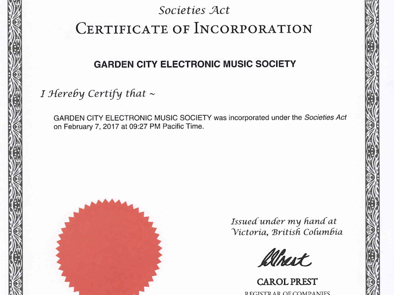 Garden City Electronic Music Society – Incorporated!